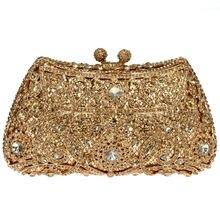 DC1989 Crystal Flower Golden Brown Rhinestone Shiny Metal Evening Bag Bridal Wedding Clutches Women Party Handbag (0812G-A)