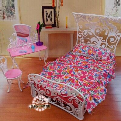 Free Shipping,princess bed Dresser Set doll bedroom for barbie ...