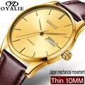 OYALIE роскошные механические часы для мужчин тонкий золотой циферблат классический коричневый кожа механические наручные часы Авто Дата Reloj ...