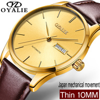 OYALIE Luxury Mechanical Watch Men Slim Golden dial Classic brown Leather Mechanical Wrist Watches Auto Date Reloj Hombre 2018