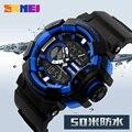 2016 nueva skmei marca de lujo de los hombres militar deportes relojes de hora dual led digital de cuarzo de moda casual correa de caucho relojes de pulsera