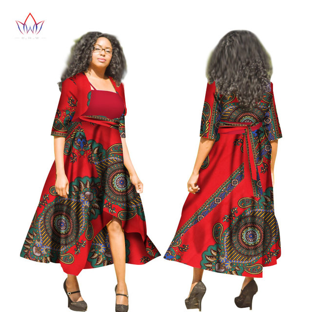 Suits for Women Autumn Clothing Two Piece Set Long Sleeve Short Blazer Tops + Maxi Dress Dashiki Sets for Women 6XL BRW WY1821