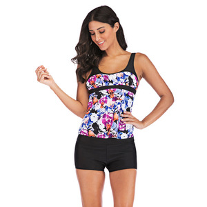 Trend Style Lady Tankini Two Piece Plus Size Swimsuit Women With Shorts Swimwear Female Bathing Suit Mayo Beach Bathers Maios #E(China)