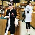 Осень-Весна Женская Мода Печатных Траншеи Пальто 2016 Новый Корейский Стиль Однобортный Леди Длинное Пиджаки Z245