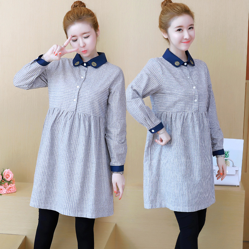 Korean Long Sleeve Striped Shirts Maternity Clothes Nursing Top Autumn Pregnant Women Breastfeeding Tops Spring Clothing H203