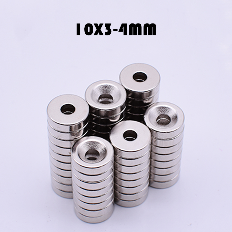 20Pcs Neodymium <font><b>Magnet</b></font> Ring <font><b>10x3mm</b></font> With 4mm Hole N35 Small Round Super Powerful Strong Rare Earth <font><b>Magnet</b></font> For Craft image
