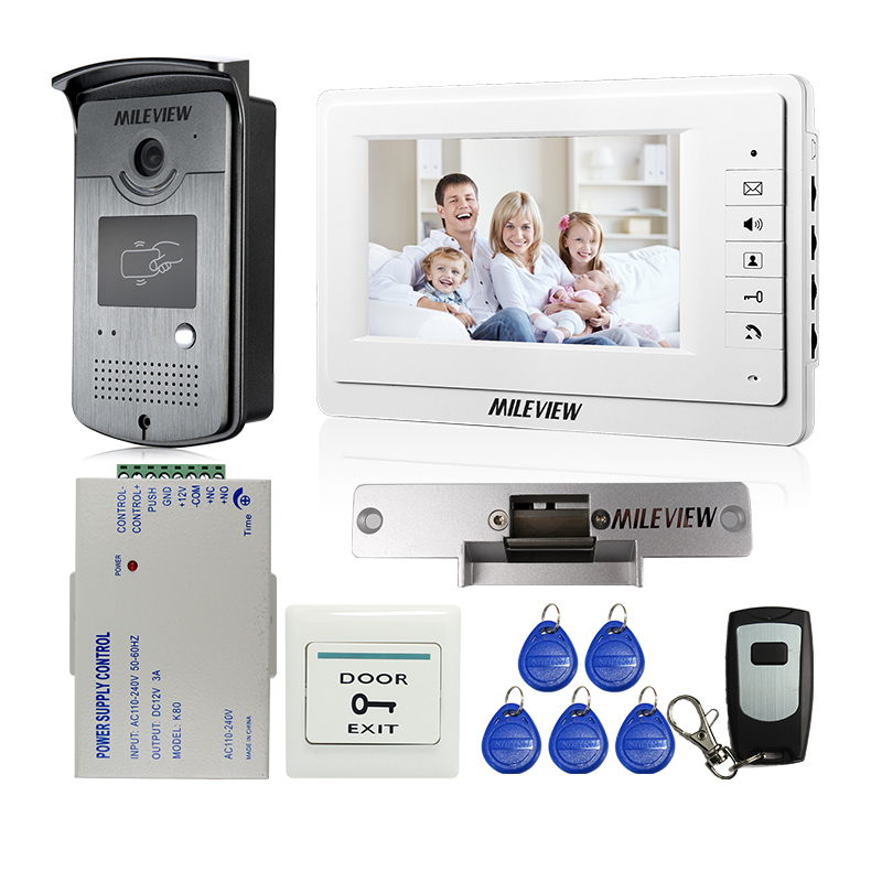 """Nowy przewodowy 7 """"kolorowy ekran wideo telefon drzwi Intercom Entry Kit + odkryty czytnik kart RFID kamera + Strike blokada drzwi darmowa wysyłka w Wideodomofony od Bezpieczeństwo i ochrona na AliExpress - 11.11_Double 11Singles' Day 1"""
