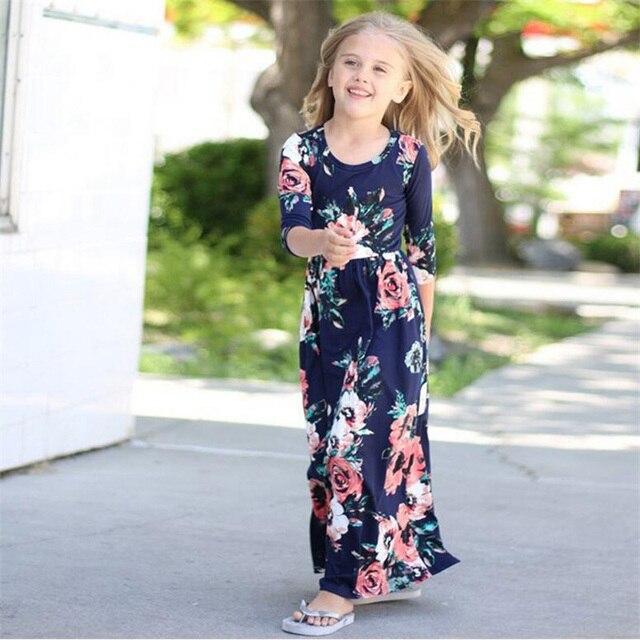 739adb76b2e1 Summer Beach Dresses 2018 Girls Boho Floral Print Long Maxi Dress ...