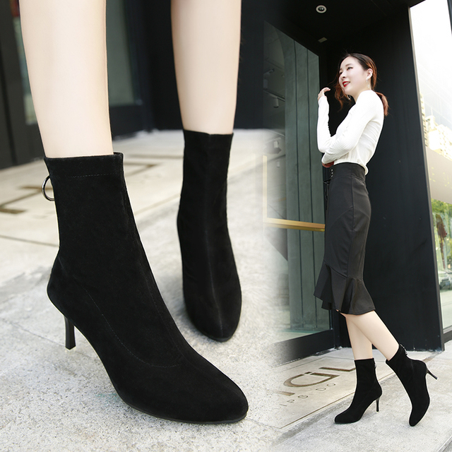 2018 new women fashion simple shallow mouth comfortable zipper high-heeled boots  autumn winter pointed thick heel boots k90