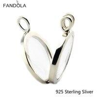925 Sterling Silver Grandes Encantos Colar De Prata Medalhão Flutuante com Vazio Moda Elegante Colar de Pingente Para As Mulheres Presente