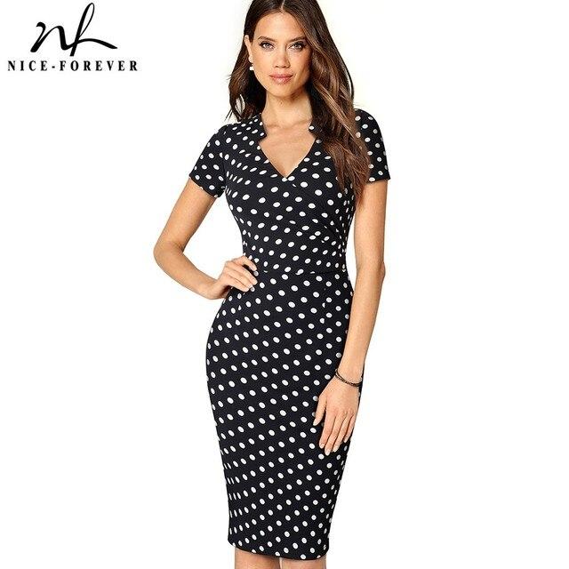 Хороший-навсегда Винтаж элегантный контраст Цвет печати носить на работу плиссированные платья Bodycon Офис Бизнес оболочка женское платье B450