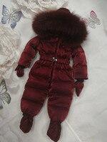 2018 зимнее детское пуховое пальто, детский пуховый костюм, верхняя одежда с меховым капюшоном, детский зимний комбинезон, детский комбинезон