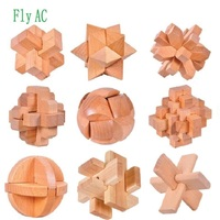 Fly AC 3D Handmade Vintage Kong Ming Lock Luban Lock Wooden Toys For Children Adults Puzzle