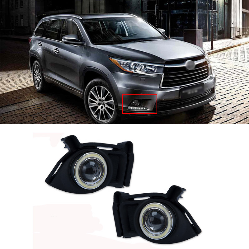 Ownsun Super COB Fog Light Angel Eye Bumper Projector Lens for  Toyota Highlander 2015 ownsun innovative super cob fog light angel eye bumper projector lens for toyota camry