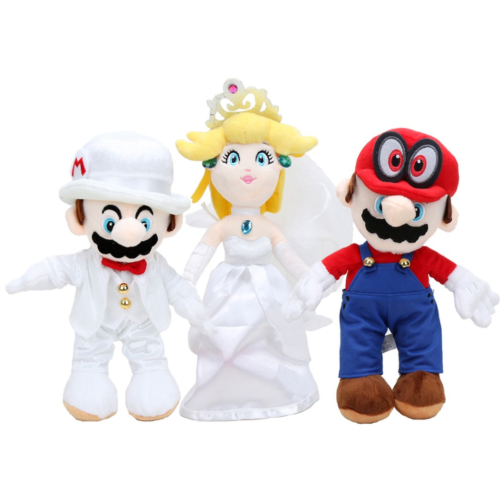 цена 3pcs/set Super Mario Odyssey The Wedding Dress Groom Costume Mario Princess Peach Cappy Cat Plush Toy Doll онлайн в 2017 году