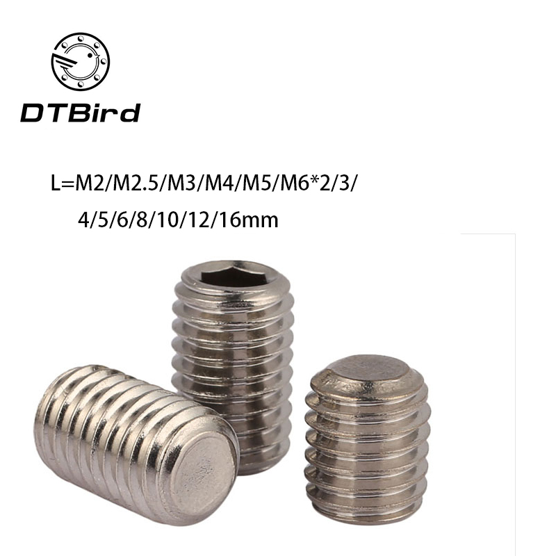 Free shipping 100PCS DIN916 Stainless Steel 304 M2 M2.5 M3 M4 M5 M6 allen head hex socket set screw grub bolts nails 2017 m4 m4 10 m4x10 m4 16 m4x16 316 stainless steel 316ss din916 inner hex hexagon socket allen head grub cup point set screw