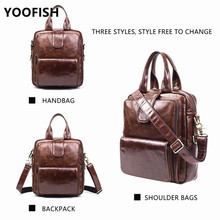 YOOFISH  Hot School Backpack Bag Women Fashion Male Travel Zipper Genuine Leather Men Backpacks LJ-869