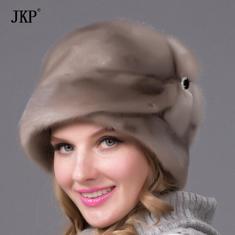 Chapeaux de fourrure de vison Véritable Cuir véritable chapeau de fourrure de vison pour les femmes d'hiver de fourrure russe chapeau Mode hiver Chaud fourrure marron chapeaux DHY-69