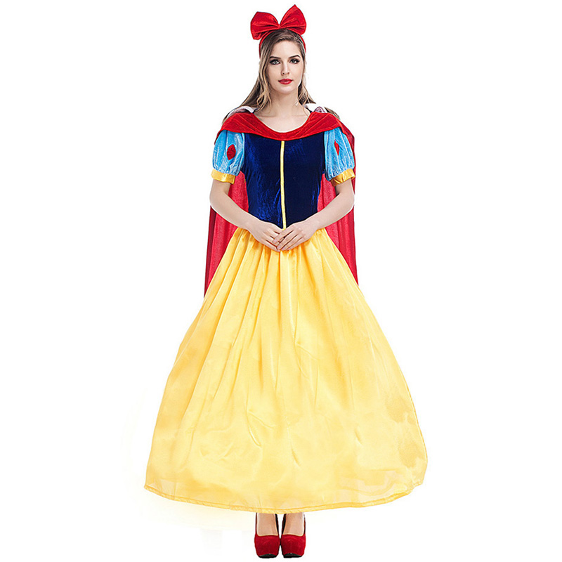 Girls Snow White Princess Costume Long Halloween Party Dress Cosplay Gown MG
