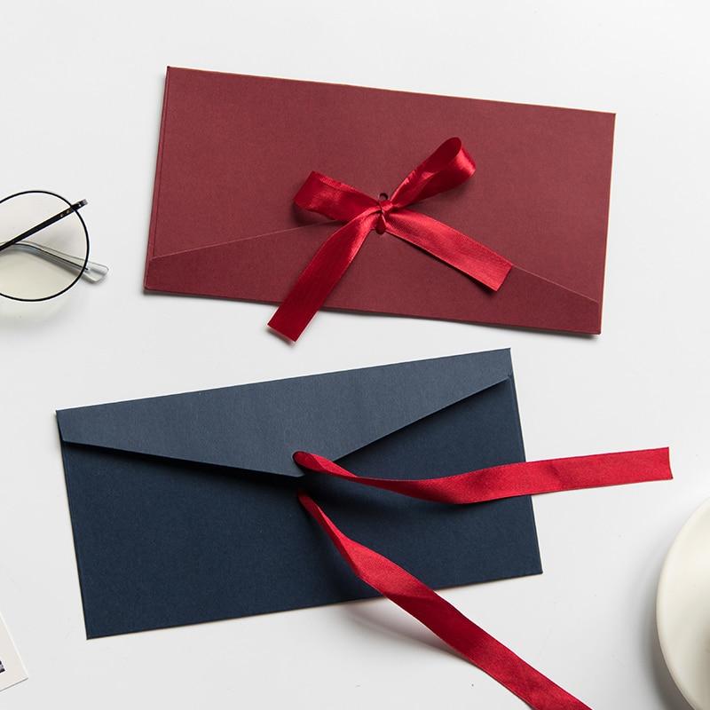 50pcs/lot Vintage 250g Blank Kraft Paper DIY Multifunction Envelope Ribbon Postcard Box Package Paper Drop Shipping