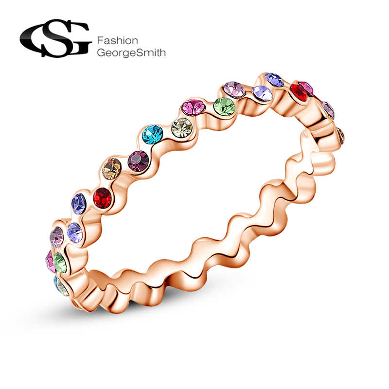 GS Vintage Women Ring Colorful Rhinestone 7 Color Rainbow Stone Sparkling Rings for Women Crystal Austrian Rose Gold Jewelry R6