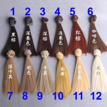 1pcs 15cm length natrual color thick 1/3 /1/4 1/6 bjd wigs doll hair