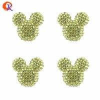 Free Shipping 30Pcs Lot 34 37mm Fashion Dusty Yellow Rhinestone Chunky Acrylic Mouse Bead For Statement