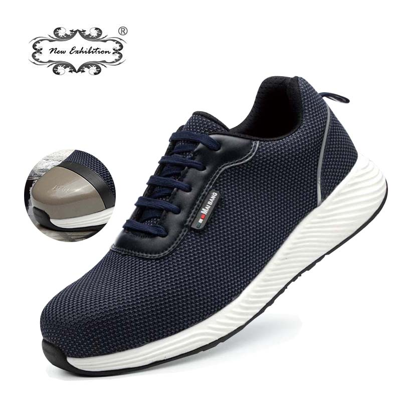 New exhibition 2019 Mens Safety Work Shoes Anti-Smashing Steel Toe Breathable EVA outsole Lightweight Protective sneaker