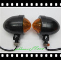 Black / Amber TURN SIGNAL Bullet LIGHT  for Harley Bobber Chopper Cruiser Custom