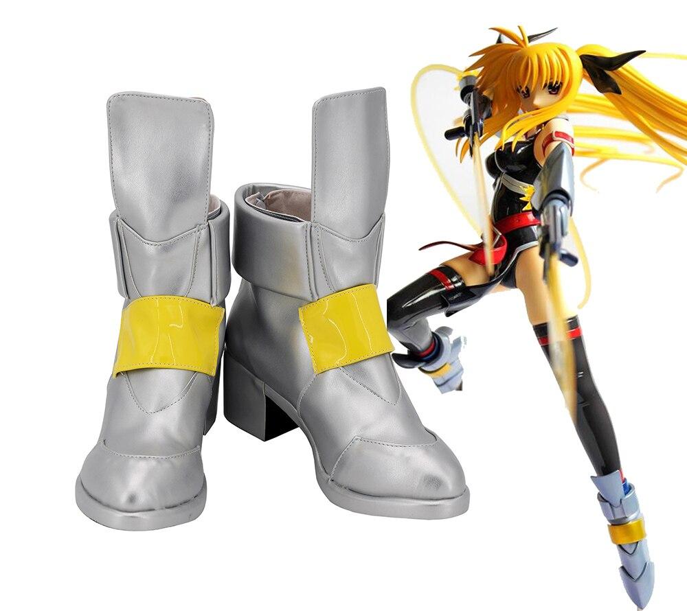 Magical Girl Nanoha Takamachi Cosplay Boots High Heel Silver Shoes Custom Made Any Size