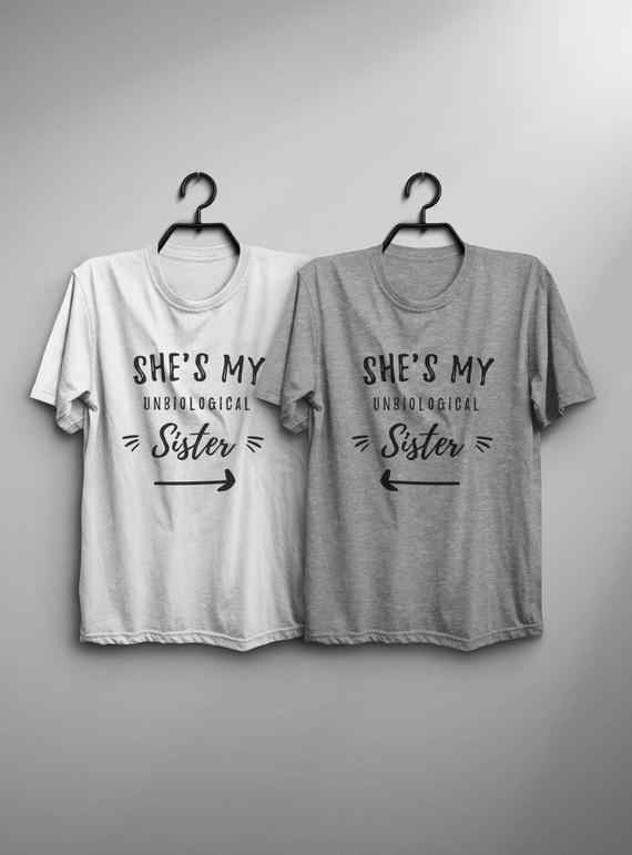 2a651955c she is my unibological sister t-shirt friend couple shirt Fashion Clothes  outfit women funny