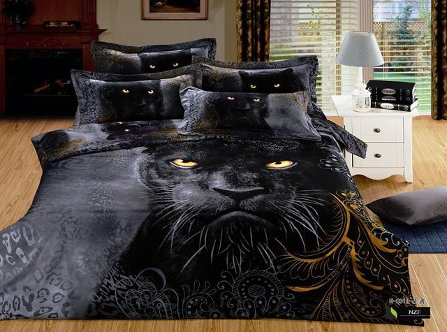 LUXURY 100%cotton 3D animal leopard rose tiger wolf lion bedding bed sheet set bedclothes duvet cover set bedding set