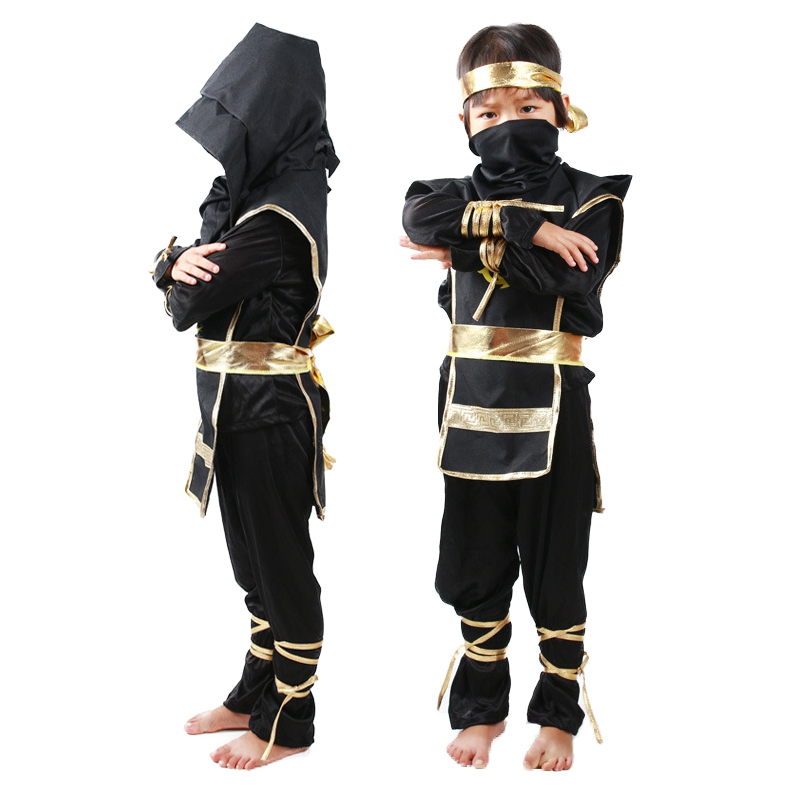 Halloween Ninjago Costume Black Ninja Cosplay Costume Set Children Christmas Party Clothes Boys Superhero Suits