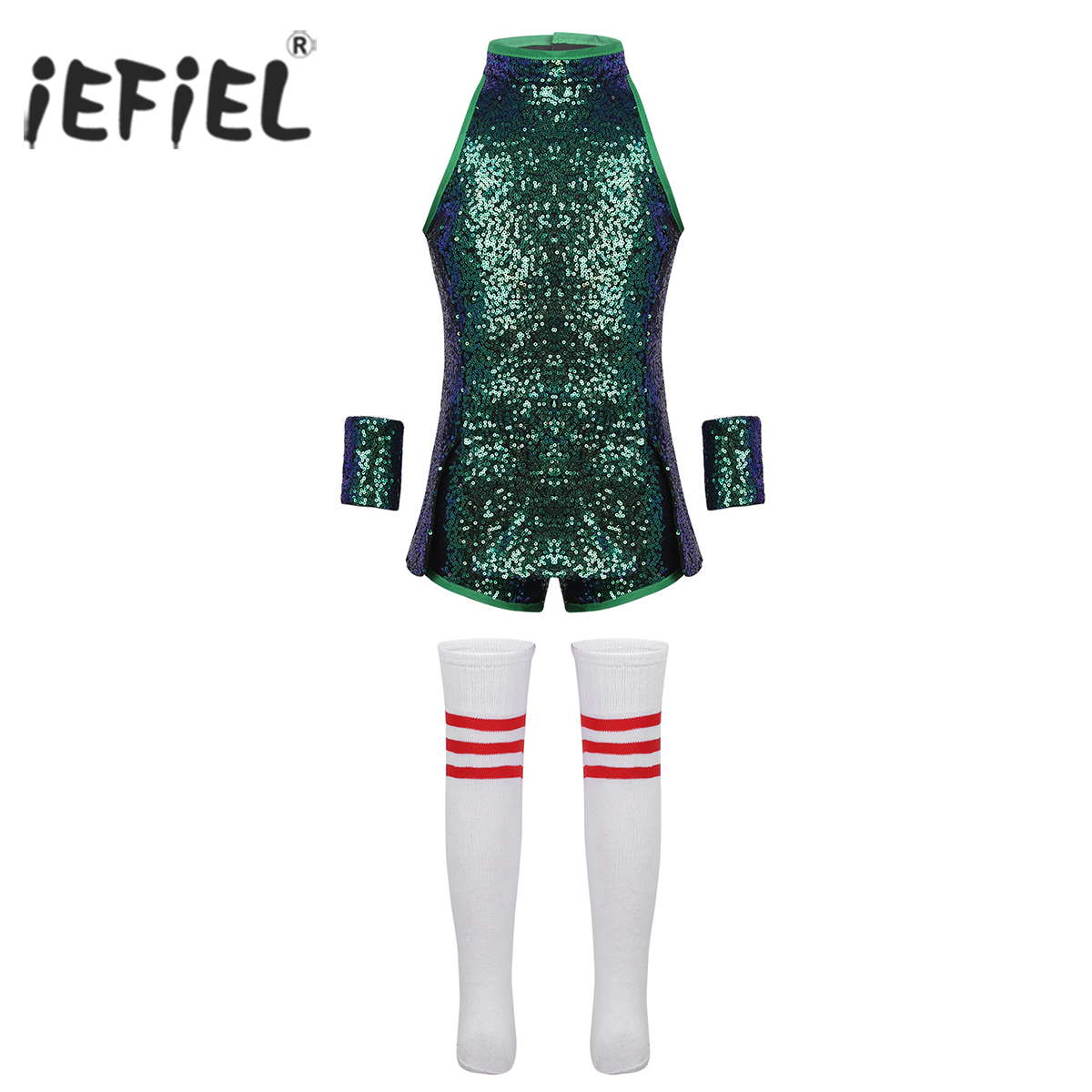 Children Girls Kid Dance Wear Hip-hop Jazz Stage Dance Costume Street Dancing Shiny Sequins Tank Top with Shorts Socks Set
