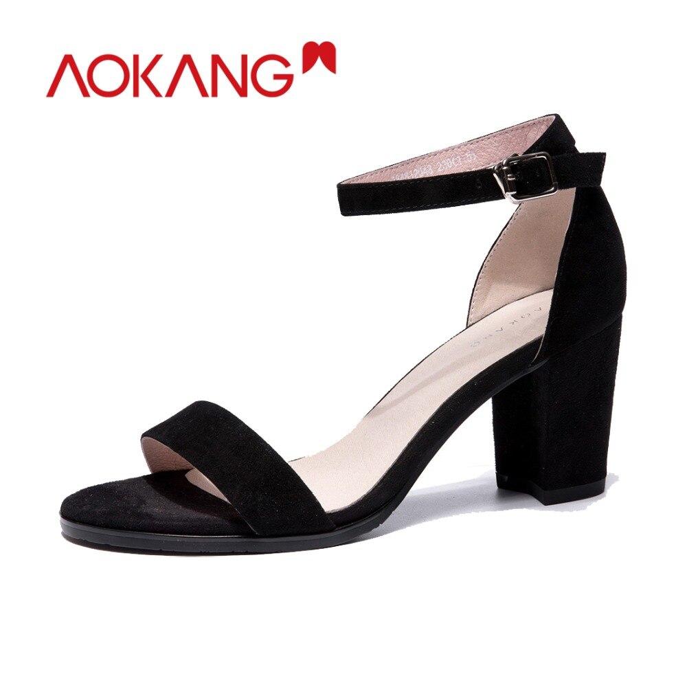 AOKANG รองเท้าแตะฤดูร้อนผู้หญิงรองเท้าส้นสูง sweet รองเท้าหญิงฤดูร้อนเด็ก suede ผู้หญิงฤดูร้อนรองเท้าของแท้ elegant รองเท้าผู้หญิง-ใน รองเท้าส้นสูง จาก รองเท้า บน   1
