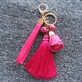 Flower Leather Keychain With Jingle Bell Tassel Camellia Flower Key Chain Women Bag Pendant Ornaments Boutique Jewelry Wholesale