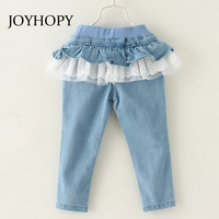Fashion Flouncing Lace Girls Jeans Spring Autumn Denim Cotton Pants For Girl Trousers Children Clothing