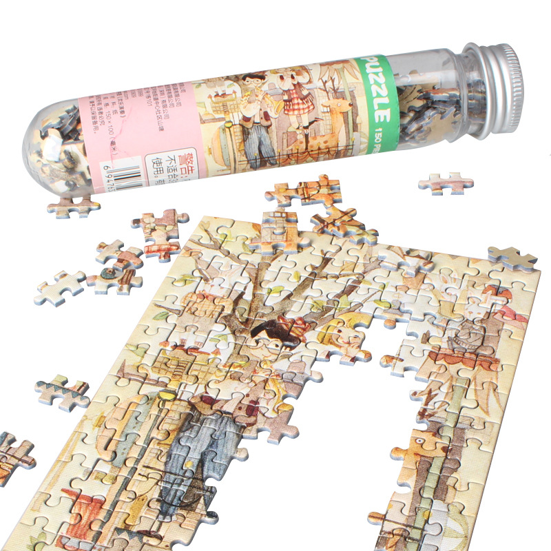 150 Pcs Set Mini Tubes Coffee Shop Jigsaw Thicker Paper Puzzle Adult Creative Romantic Toy Puzzles Christmas Gift For Children in Puzzles from Toys Hobbies