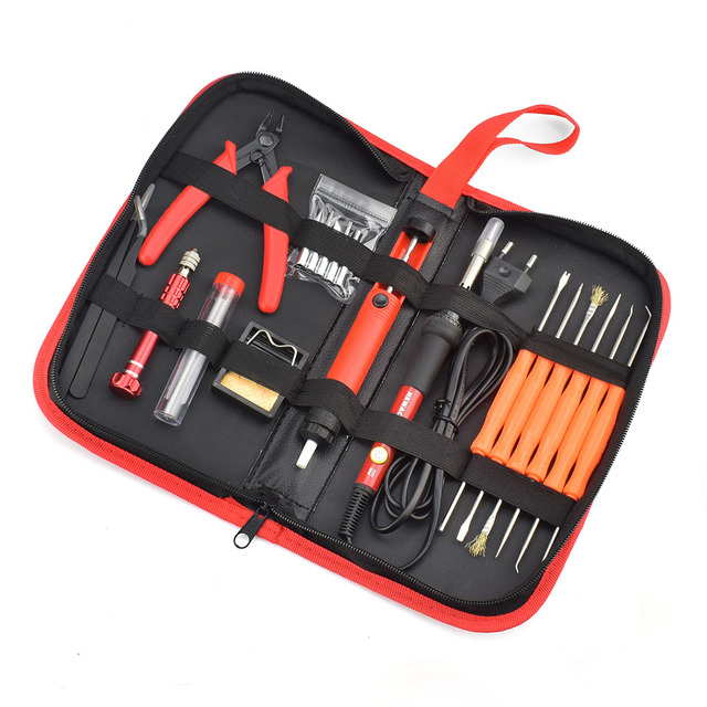NEWACALOX EU/US 60W Thermoregulator Soldering Iron Kit Screwdriver Desoldering Pump Tin Wire Pliers Welding Tools Storage Bag 3