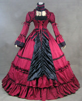 2018 Summer Red Flare Sleeve Gothic Victorian Dresses Classic Retro Square Collar European Court Period Dress Ball Gowns