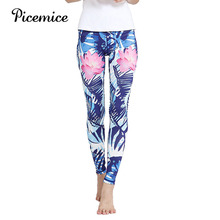 купить Picemice Stripe Printing Elastic Gym Workout Tights S-XL Running Trousers High Waist Yoga Pants Women's Fitness Sport Leggings дешево