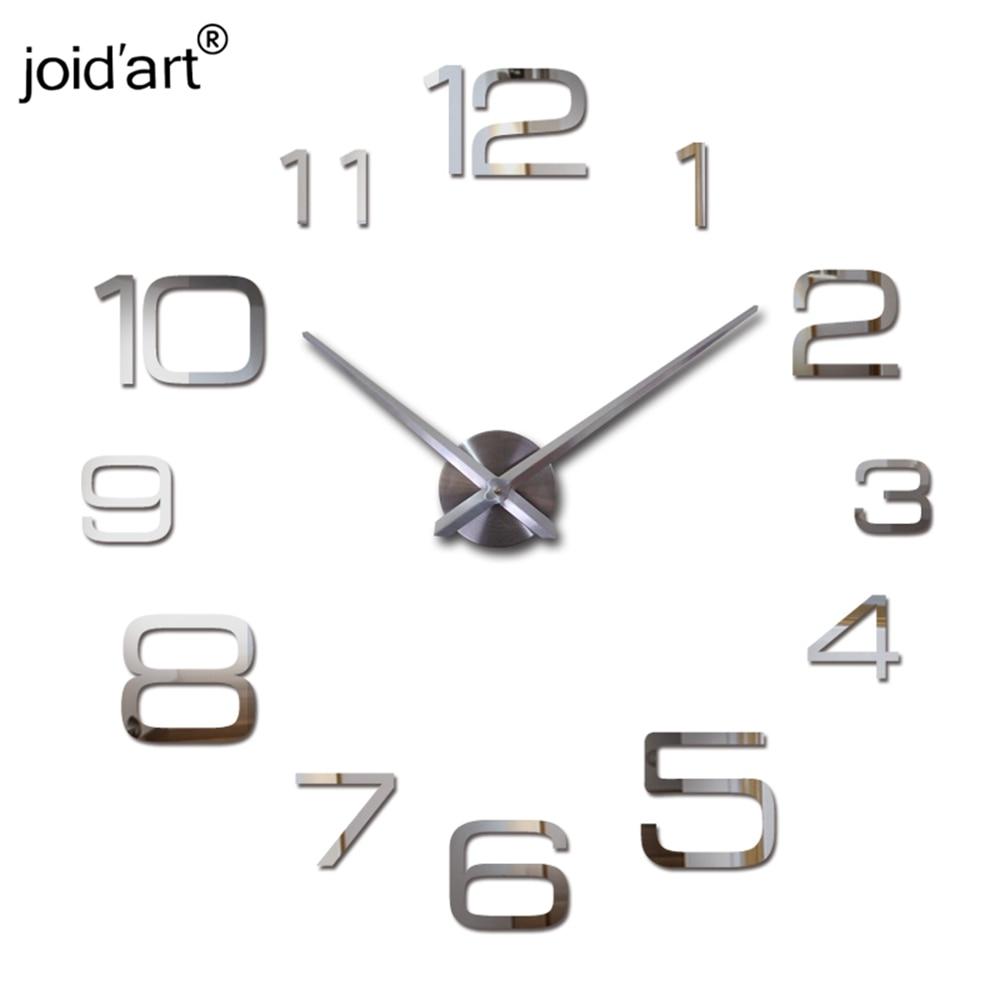 yeni akril divar saat kvars saat salonu müasir 3d güzgü etiketləri reloj pared horloge böyük dekorativ saatlar