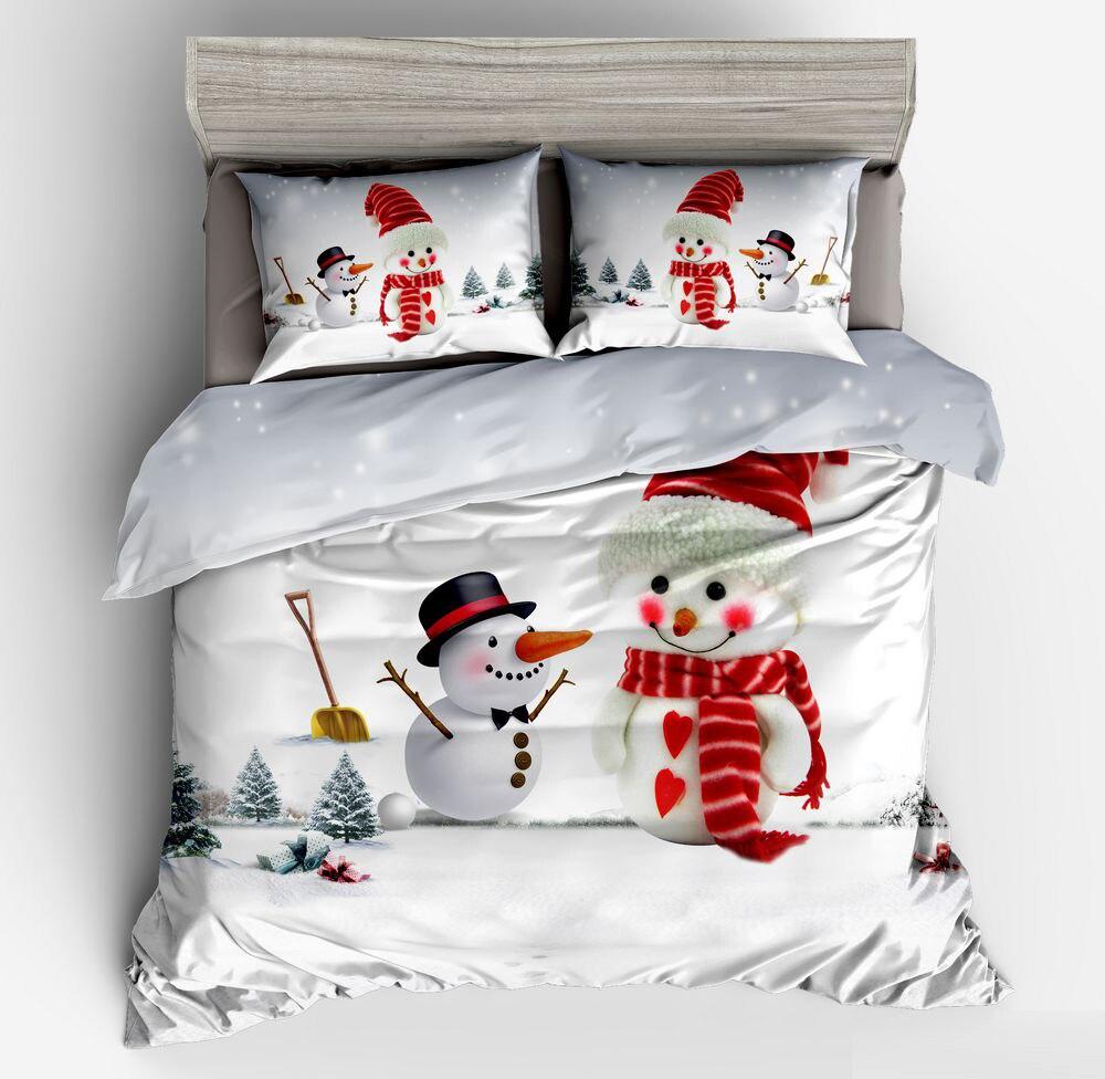 Decor 3D Snowman Bedding Sets Winter Christmas Tree Gules Printed Duvet Cover Pillowcase Adult Kids 2/3pcs Bedclothes Bedroom