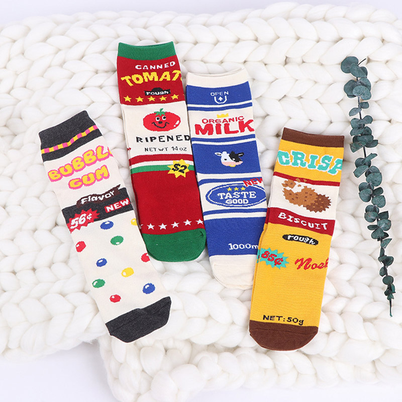 Men Creative Funny Socks Happy Cotton Colorful Fun Socks Women Milk Box Pattern Candy Tomato Cookies Stripe Patchwork Crew Socks ...
