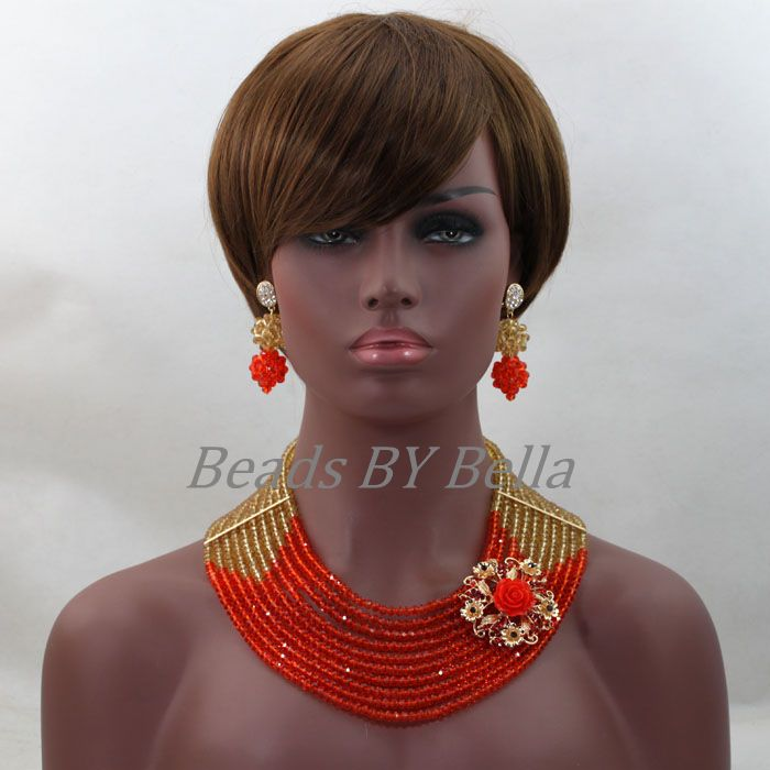 Nigerian Wedding Beads Lace Jewelry Sets Orange Gold Crystal Women Party Necklace Set African Jewelry Sets Free Shipping ABL224 african orange red beads necklace sets orange gold crystal balls beads women fashion jewellery sets qw1191