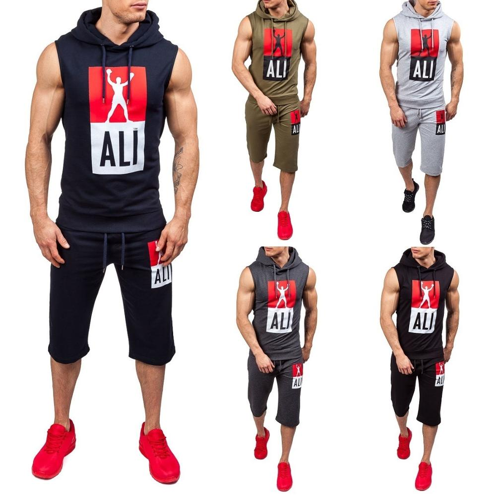 Zogaa Men's Spring Summer Sports Vest Suit Casual Slim Sleeveless Tank Top Hoodies Shorts Pants Suit Training Fitness Clothing
