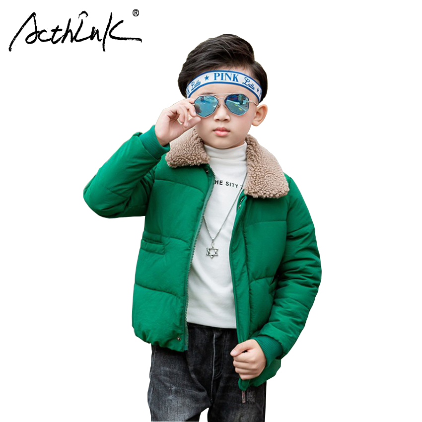 ActhInK New Big Boys Winter Cotton Padded Coat Children Fashion Zipper Parkas Boys Fleece Collar Thick Warm Outerwear Kids Coat цена