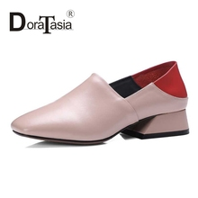 DoraTasia Size 33-40 Fashion Women Genuine Leather Chunky Heel Pumps Square Toe Color Mixed Upper Leather Shoes
