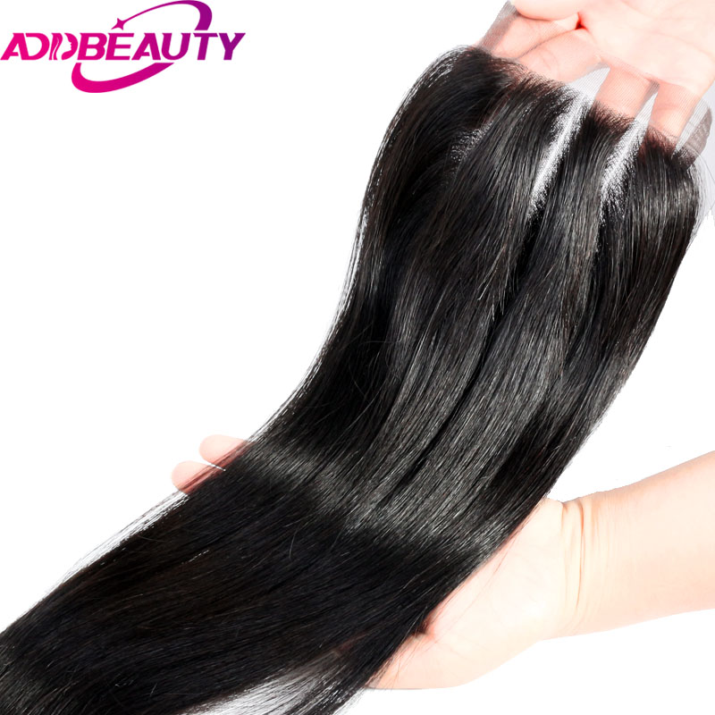 AddBeauty Three Part Lace Closure Straight Virgin Brazilian 4x4 Human Baby Hair Natural Color For Black Woman