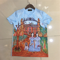 2018 Spring Summer Season New Style Castle Cartoon Graphic Print Leisure Short Sleeves Blue Silk Cotton